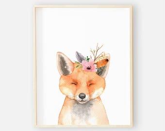 Baby Boho Animal Nursery Digital Print | Nursery Wall Art | Floral Animal Baby Girl Nursery Decor | Baby Boho Animal Fox