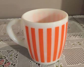 Vintage Hazel Atlas orange stripped coffee mug
