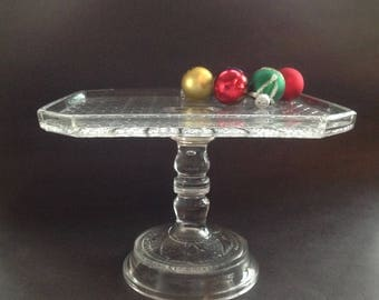 Vintage Glass Cake Stand - Square Cake Stand - EAPG Daisy and Button Square Cake Plate Bryce Bros Glass  - Cupcake Stand