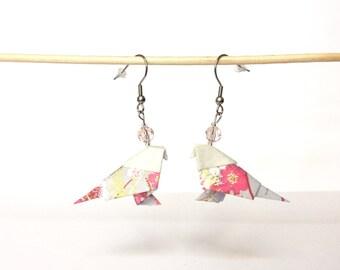 Parakeet origami earrings purple pink parakeets, washi paper