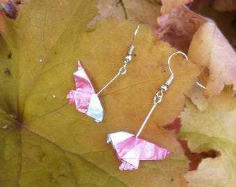 Pink origami bird earrings