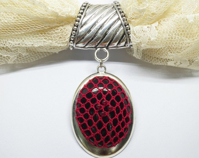 Featured listing image: Scarf Accent Ring With Bobbin Lace Pendant: Victorian Red