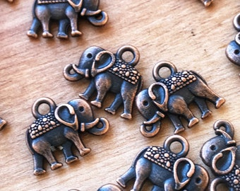 14mm Elephant charms, jewelry making,  vintage look, Tibetan style charms, 14mm, 10 or 20 pack