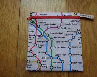 Snack Bag - Bikini Bag - Lunch Bag - Make Up Bag Small Poppins Waterproof Lined Zip Pouch - Sandwich bag  Eco - London Underground Tube Map
