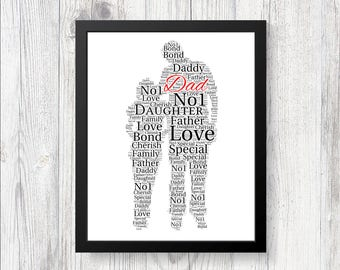 Personalised Fathers Day Word Art Print Gift Worlds Best Dad Daddy Grandad Son Dad Daughter Different sizes available