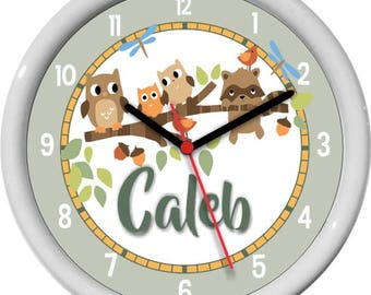 Woodland Tails Owls Racoons Personalized Nursery / Children Wall Clock