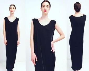 moving sale % Vtg 80s 90s Minimal Black Maxi Dress