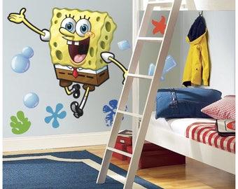 Spongebob squarepants birthday/bedroom stick and peel wall decal decor