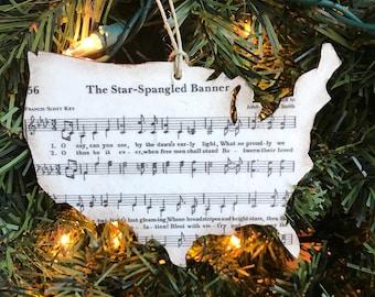 Patriotic Ornament, Military Christmas Ornament, Patriotic Christmas Ornaments, Military Ornament, Patriotic Music Ornament, National Anthem