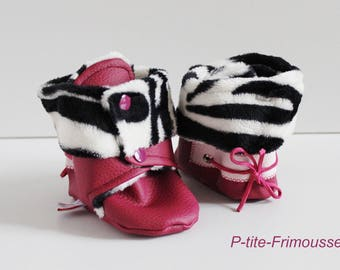 Booties for baby, raspberry leatherette, lining black & white Zebra minkee super soft.  Waterproof!