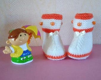 Style baby booties for baby girl hand knitted wool baby booties size 3/6 months