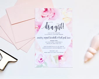 Watercolor Floral Shower Invites / Pink Peach / Calligraphy / Semi-Custom Party Bridal Baby Shower Invites / Printed Invitations