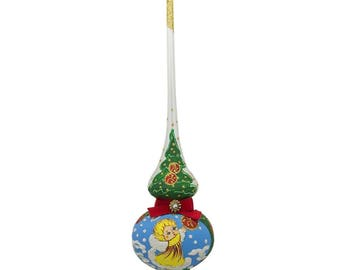 "11"" Angel in Clouds with Red Ribbon Glass Christmas Tree Topper"