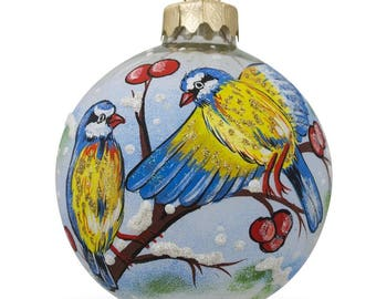 "3.25"" Blue and Yellow Birds on Branch Glass Ball Christmas Ornament"