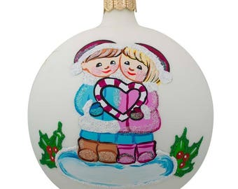 """4"""" Young Couple Glass Ball Our First Christmas Ornament"""