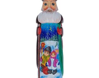 "11"" Children Caroling Ukrainian Hand Carved Solid Wood Santa Figurine"