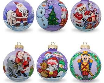 "3.25"" Set of 6 Santa, Bear, Snowman, Bunny, Reindeer Glass Ball Christmas Ornaments"