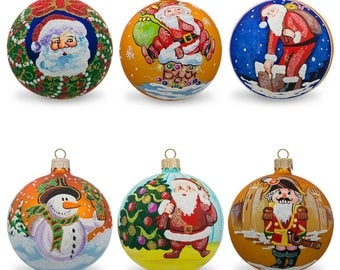 "3.25"" Set of 6 Santa with Gifts, Snowman, Nutcracker Glass Ball Christmas Ornaments"