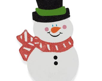 """4.75"""" Snowman with Glittered Hat Wooden Cut Out"""