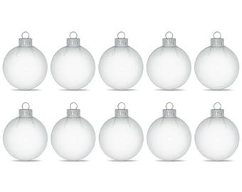"2.36"" Set of 10 Clear Glass Ball Christmas Ornaments"