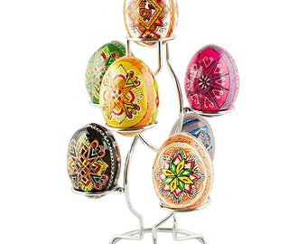 "7.25"" Silver Tone Metal 7 Eggs Holder Display Stand"