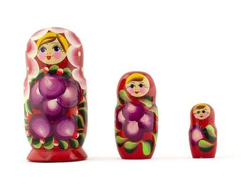 "3.5"" Set of 3 Anemone Russian Wooden Nesting Dolls"