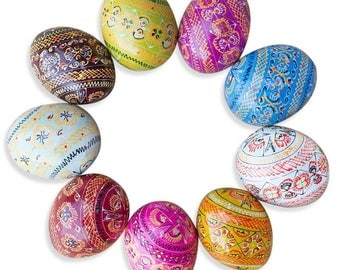 "2.5"" Set of 9 Hand Painted Wooden Pysanky Ukrainian Easter Eggs"