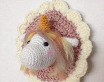 Frame, decorative wall trophy Unicorn for child's room or in living room decor