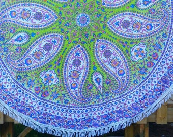 Mandala Paisley Round Throw Dining Table cover Yoga Mat Couch Throw Wall Tapestry Beach Throw Boho Throw Hippie Throw Wall art Window Scarf