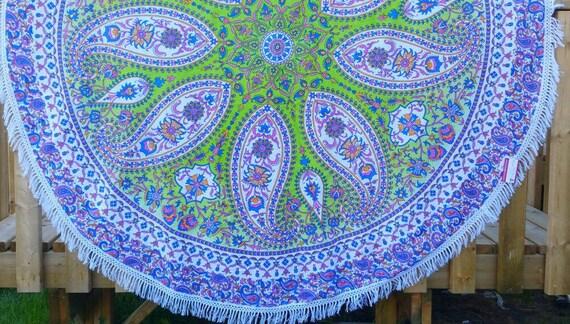 Mandala Paisley Round Throw Dining Table cover Yoga Mat Couch Throw Wall Tapestry Beach Throw Boho Throw Hippie Throw Wall art Window Scarf
