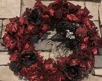 Black & Red Halloween Holiday Wreath