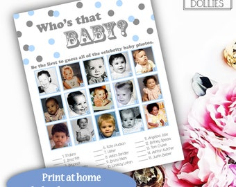 Boy Baby Shower Game, Blue and Gray Dots Boy Baby Shower, Printable Baby Shower Game, Who's That Baby Party Game, Celebrity Baby Photo Game