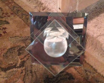 Five inch square double mirror hanging candle holder