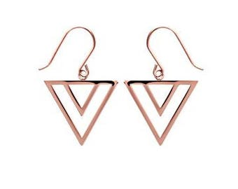 Golden triangle - gold pink earrings