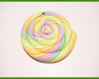 kawaii sweet treats polymer fimo clay lollipop charm bead