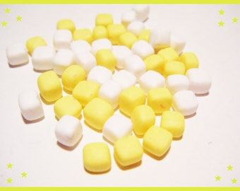 Polymer clay miniature Marshmallow set of 50 multicolor Fimo bottle lot