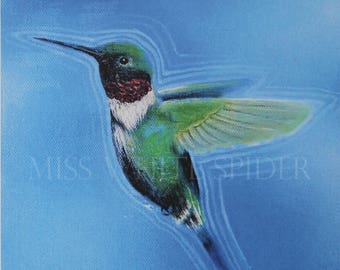 Journeys Reverberation, Original Painting, digital artwork, Humming Bird, Print