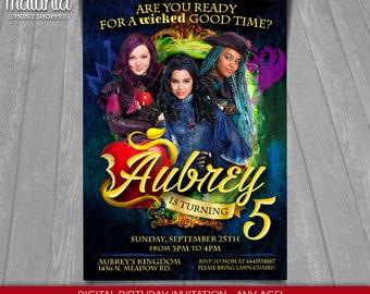 Descendants Invitation - Disney Descendants 2 Invite - Descendants Birthday Invitation - Disney Descendants Birthday Party Mal Evie Uma