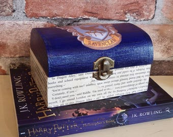 "FREE POSTAGE  Harry Potter inspired Ravenclaw trinket box ""Aged"" Philosophers stone book pages"