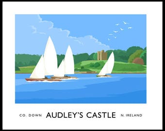 Sailing yachts on Strangford Lough at Audley's Castle, County Down - vintage style railway travel poster art of Ireland