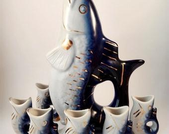 Vintage Fish Soviet collectibles Fish Blue Fish Decor Fish Kitchen decor Ceramic fish USSR Fish gift Retro home decor
