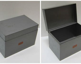 Metal Index Card Box File Box Storage Vintage Office Desk Accessories Metal  Industrial Office Decor Supplies