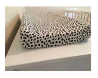 Modern black and white dot changing pad cover, black and white, changing pad cover, black spots, dots, dalmation print