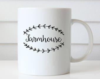 Farmhouse Coffee Mug, Farmhouse Mugs, Farm House Kitchen, Farm House Decor, Farmhouse Decor, Farmhouse Table, Farmhouse Art, Laurel Wreath