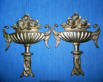 A Vintage Pair of Brass Wall Hangings~A Set of Ornate Brass Wall Decor~Brass Nut~Fruit Bowl Decor~Hang in a Group or By Themselves~Nice Gift