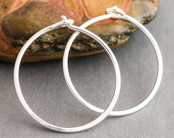 Hoop Earrings Sterling Silver. Medium Shiny Polished Sleepers. Boho Urban Gypsy Sleek Elegant. Eco Recycled Reclaimed Everyday Design