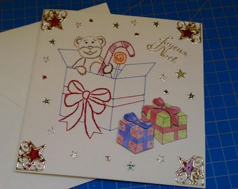 Embroidered card and 3D handmade 483