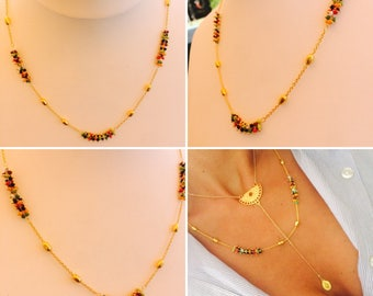 Melina necklace and rivers of multicolored seed beads - summer - chic and bohoglamour - Miss vk