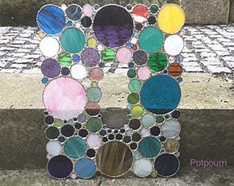 Confetti glass panel / stained glass / stained glass / rectangle / Sunchatcher/cinema / Tiffanytechnik / original handmade / stained