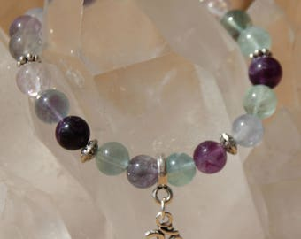 fluorite and charm bracelet